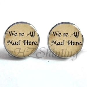 Jewelry - NEW Silver Round Alice in Wonderland Earrings